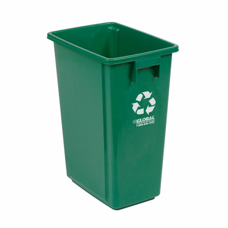 """Recycling Container, 15 Gallon, 12""""W X 18""""D X 24""""H, Green"""