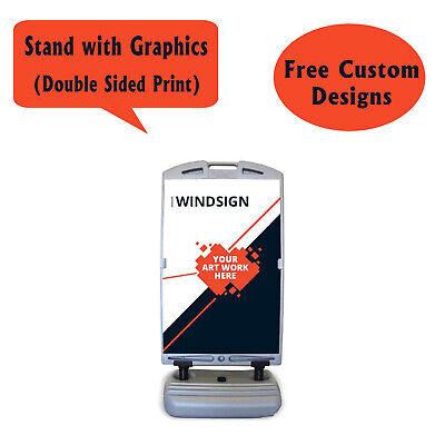 Wind Frame Sidewalk Sign, Wheel on Base Outdoor Advertising Sandwich Board 24X36 (Sidewalk Wind Sign)