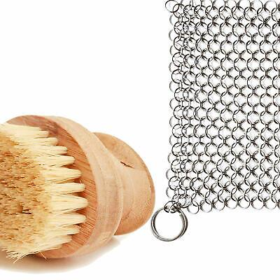 Cast Iron Sam's Cast Iron Skillet Cleaning Kit- Chainmail Scrubber and Brush Set