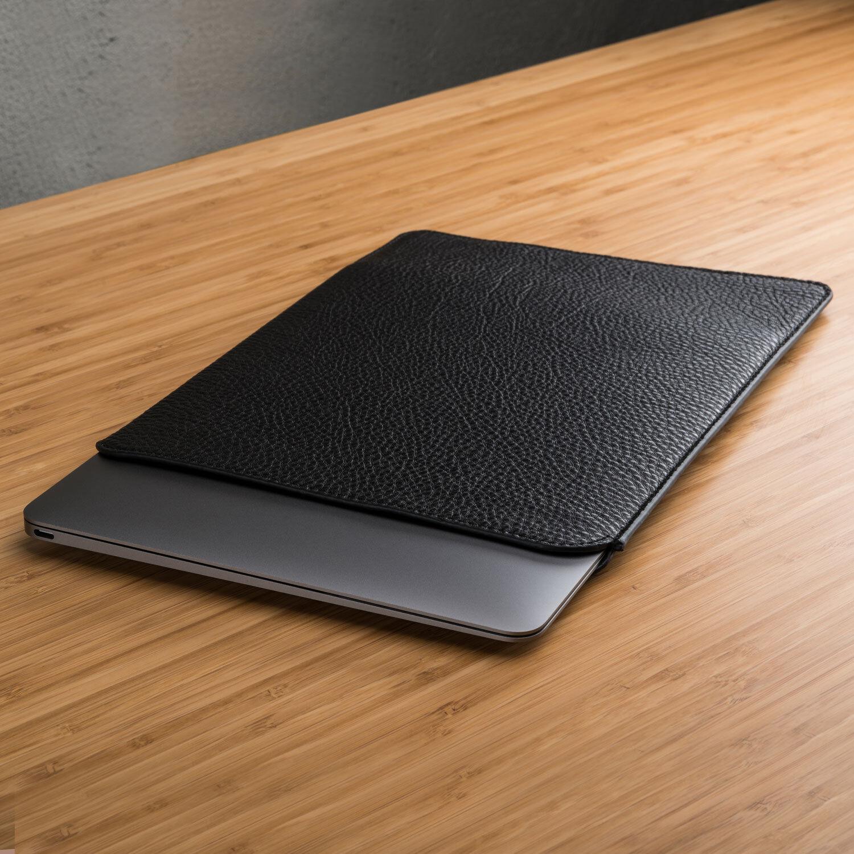 Black Slim Real Pebble Grain Leather Pouch Sleeve Case Apple