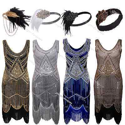 1920s Flapper Beaded Dress Gatsby Wedding Party Formal Evening Art Deco Dresses
