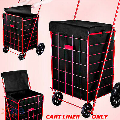 Folding Shopping Cart Liner Rolling Utility Trolley Wheels Basket Hood Bag Dark