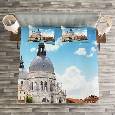 European Quilted Bedspread & Pillow Shams Set, Grand Canal V
