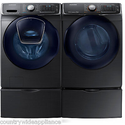 Samsung Black Stainless Washer Gas Dryer and Pedestals WF50K7500AV DV50K7500EV