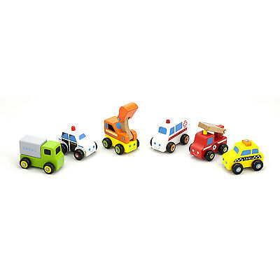New Wooden 6 Push-Along Vehicles/Cars/Digger/Fire Engine Toy Childrens Kids Set