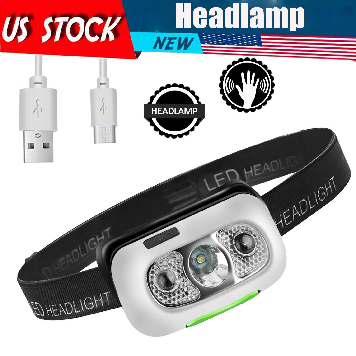 New 2020 USB Rechargeable LED Headlamp Torch Flashlight Waterproof Headlight US Camping & Hiking