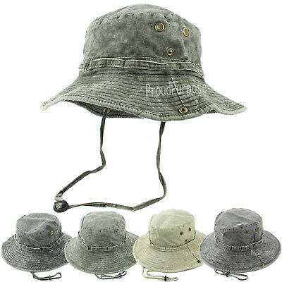 Cotton Military Cap Hat - Boonie Bucket Hat Cap Military Fishing Visor Sun Safari Mens Womens 100% Cotton