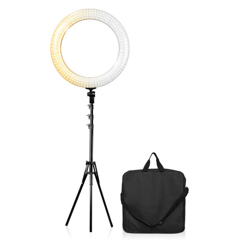 18 Inch Dimmable Ring Light with 71.5 Inch Light Stand Lighting Kit Photo Studio
