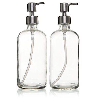 (2-Pack) 16oz Liquid Soap Dispenser Stainless Steel Pump, Glass Bottles