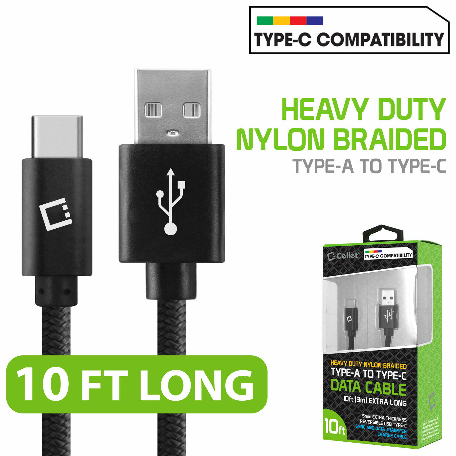 Cellet 10ft Heavy Duty Nylon Braided TypeC Cable for MacBook Pro Chromebook