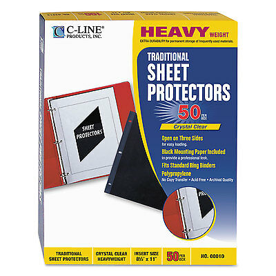 C-line Traditional Polypropylene Sheet Protector Heavyweight 11 X 8 12 50bx