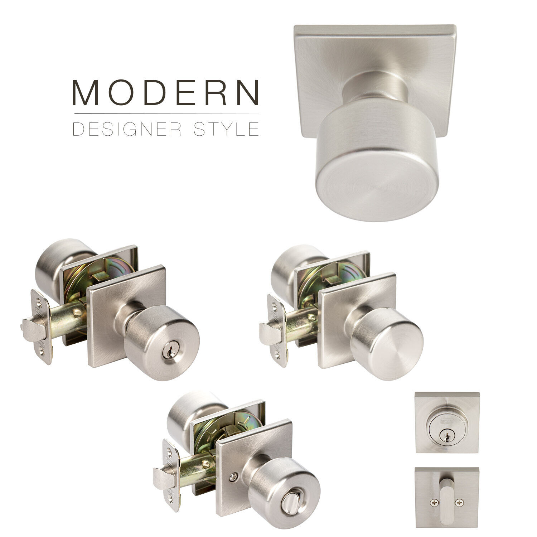 Value Project Pack Modern Flat Door Knob Square Rose Lock Handle, Satin Nickel Building & Hardware