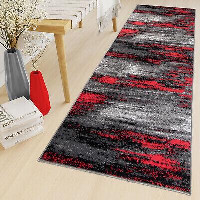 Schwarze Läufer Teppich (DESIGNER TEPPICH LÄUFER IN GRAU ROT SCHWARZ BRÜCKE KURZFLOR MODERN VERWISCHT)