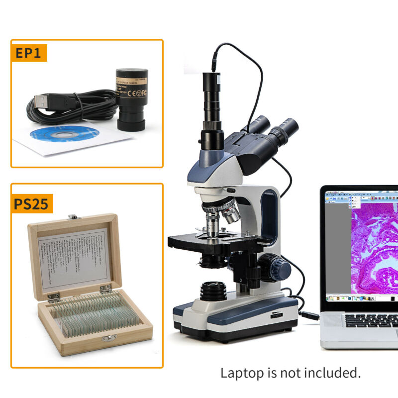 Swift Lab 2500X Trinocular Compound Microscope +Digital Camera+Prepared Slides