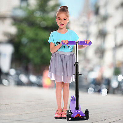 3-Wheel Kick Scooter w/ LED Light Up Wheels for Toddler Kids Sports Toys Gifts