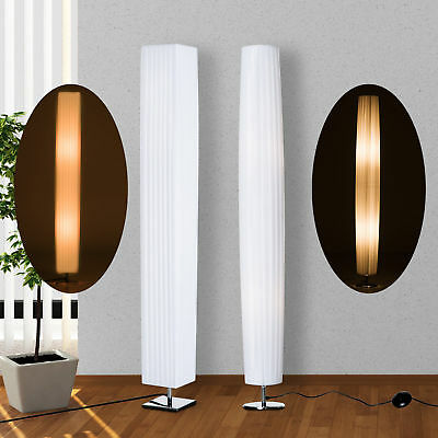 HOMCOM Stehlampe Stehleuchte Standleuchte Wohnzimmer E27 Edelstahl 120cm Weiß