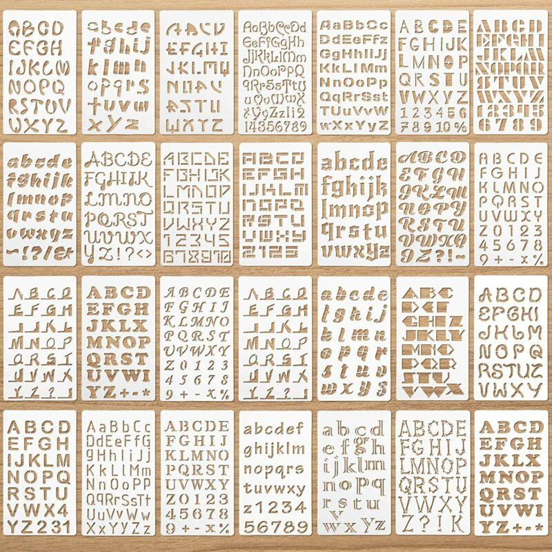 28 Pieces Letter and Number Stencils Reusable Plastic Letter Stencils