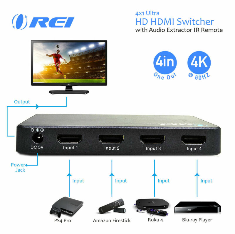 OREI 4 X 1 Ultra HD HDMI Switcher With Audio Extractor IR Remote - Supports