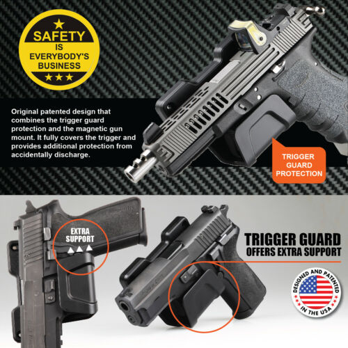 Stinger Magnetic Gun Firearm Mount Holder with Safety Trigger Guard Protection