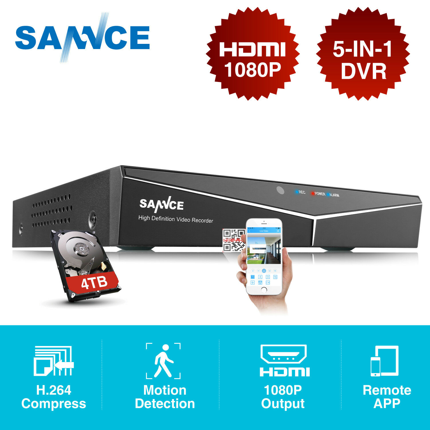 SANNCE 5in1 8CH 1080P HDMI DVR Video Recorder for Security C
