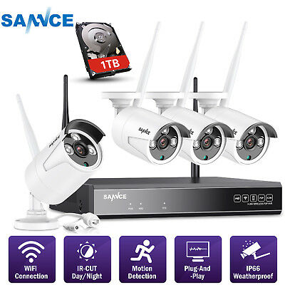 SANNCE 1TB Wireless IP Camera Security System HD 1080P 4CH NVR Video WIFI IR CUT