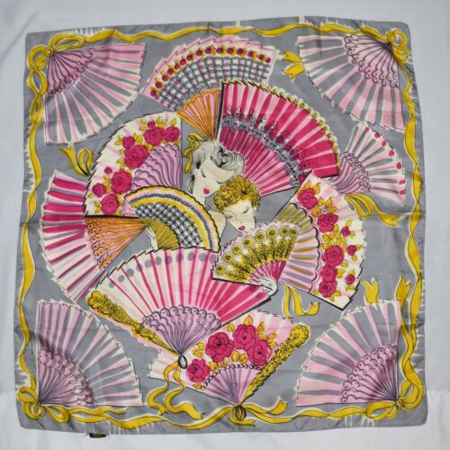 Vintage 1940s Fans And Ladies Faces Novelty Print Silk Square Scarf Glentex