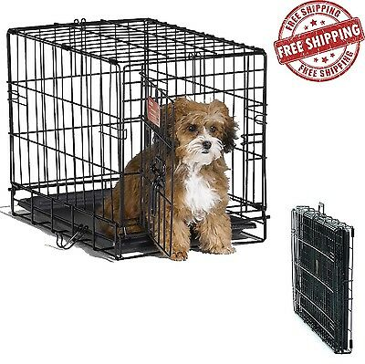 Small Dog Cage Portable Pet House 18 Inch Folding Cat Animal Metal Puppy Pan NEW