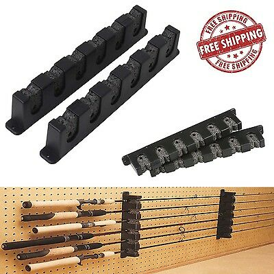 Horizontal Rod Rack 6 Berkley Fishing Holder Storage Pole Holder Gear Stand Wall