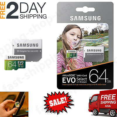 64GB MICRO SD CARD 100MB/s (U3) EVO Select Class 10 HTC Samsung Galaxy Note 8