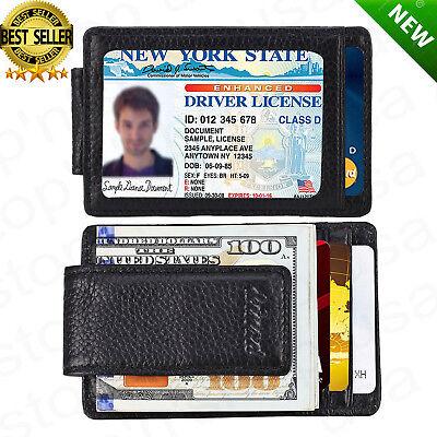 Black Money Clip - Front Pocket Wallet Money Clip Leather RFID Blocking ID Credit Card Slim Holder