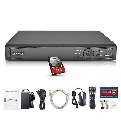 ANNKE 4CH 1080P PoE NVR H.264+ 1TB Überwachungsset Netzwerk Recorder Videosystem