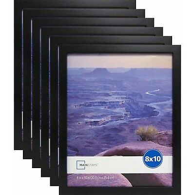 """Black Picture Frames 8"""" x 10"""" Set of 6 Home Decor Mainstays Photo Linear Frame"""