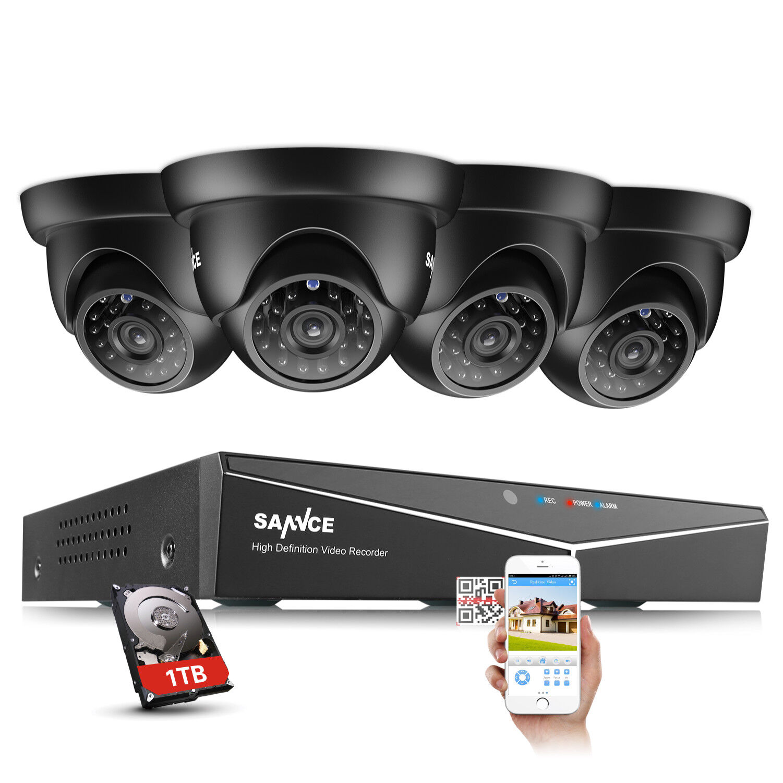 SANNCE 1080N CCTV 5IN1 8CH DVR 1500TVL IR Outdoor Security TVI Camera System 1TB
