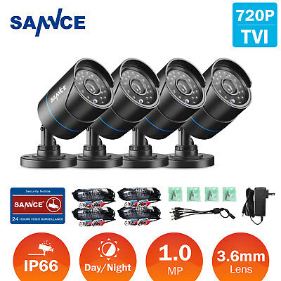 SANNCE 4x 720P 1500TVL CCTV Camera Outdoor Home Security System IR Night Vision