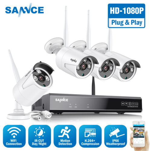 SANNCE 1080P Wireless WIFI Network 8CH NVR In/Outdoor Security IP Camera System