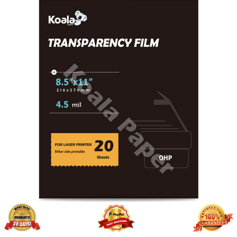 Koala 20 Sheets 8.5x11 OHP Film Transparency Overhead Projector  Laser Printer