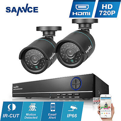 SANNCE 4CH 720P DVR 1500TVL In/ Outdoor Weatherproof CCTV Security Camera System