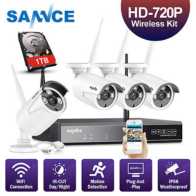 SANNCE 1080P 4CH Wireless P2P NVR w/1TB HDD 4x IR CUT Security Camera System APP