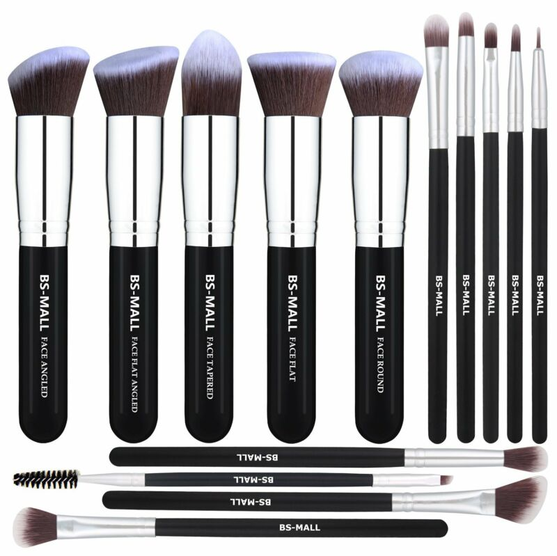 BS-MALL Makeup Brushes Premium 14 Pcs Synthetic Foundation P