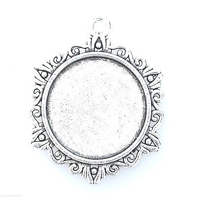 5 ANTIQUE SILVER TONE ROUND CAMEO CABOCHON SETTINGS 25mm Tray DIY Pendants