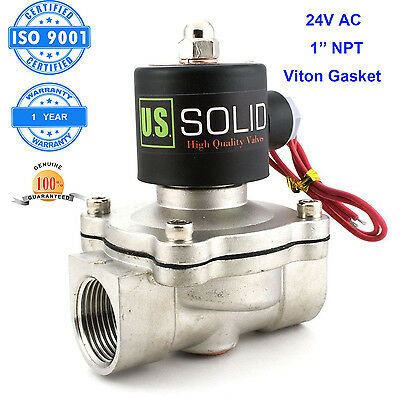 1 Stainless Steel Electric Solenoid Valve 24v Ac N.c. Air Water Fuel Viton