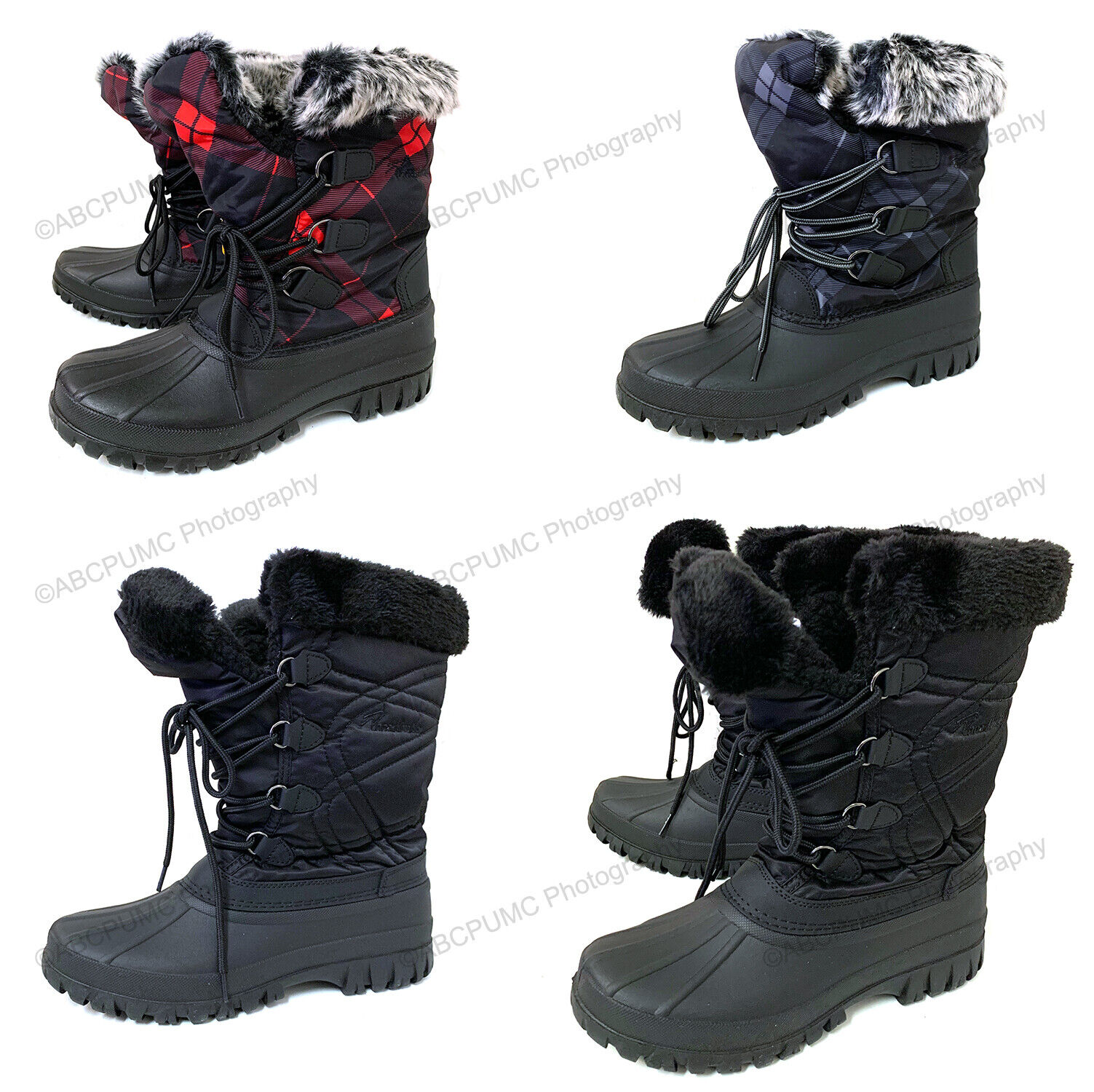 New Womens Snow Boots Fur Waterproof Warm Insulated Zipper W