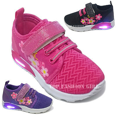 New Baby Girls Light Up Heel Sneaker Tennis Shoes Pink Black Purple Size 4 to 9 ()