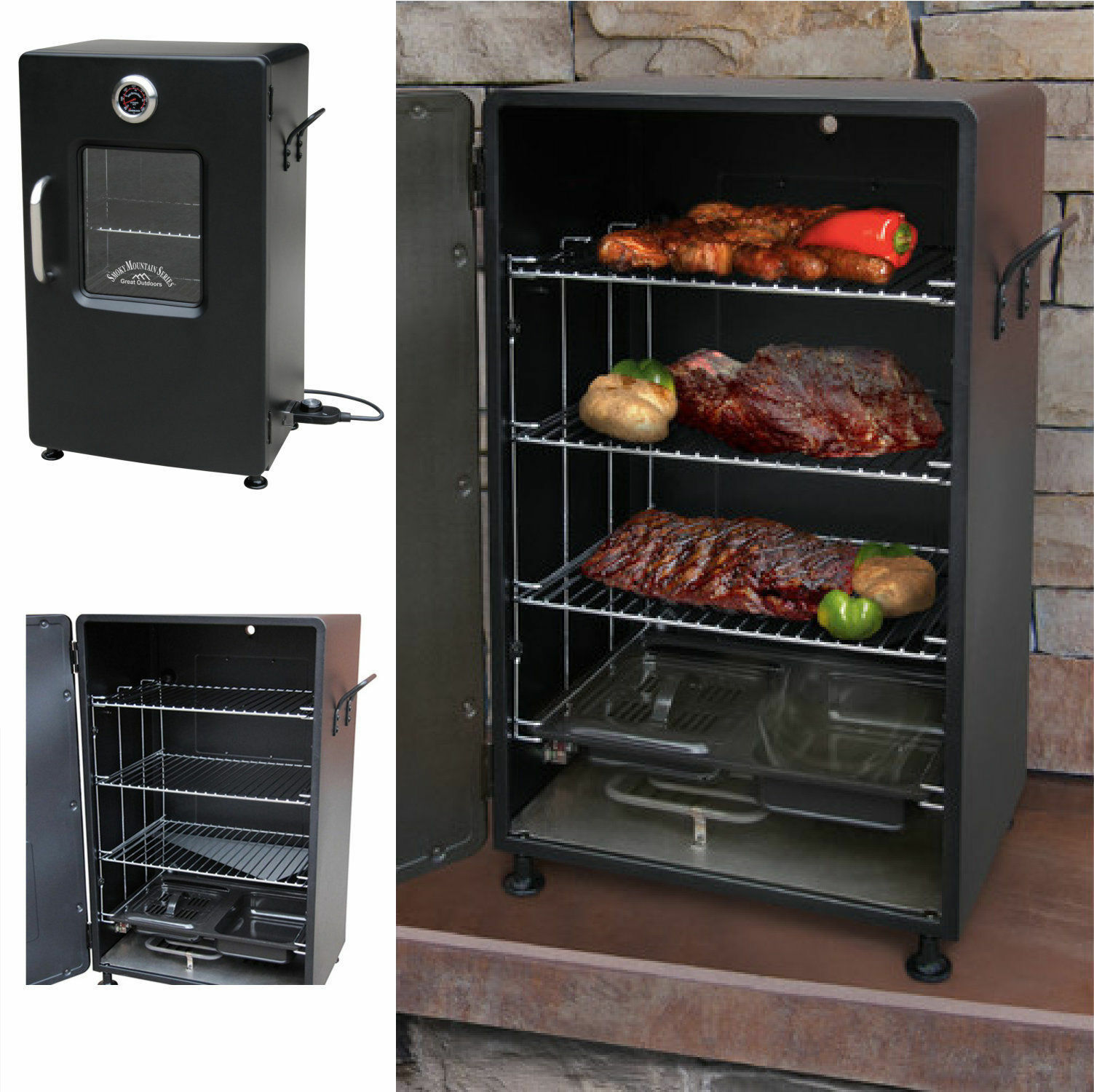 Portable Electric Bbq : Electric bbq smoker barbecue grill outdoor portable meat