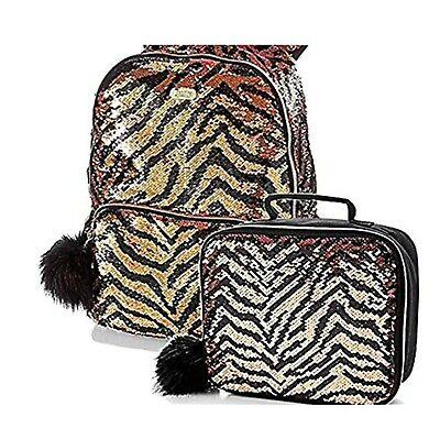 Justice Backpacks For Kids (Justice for Girls Backpack & Lunch Tote Flip Sequin Gold Tiger)