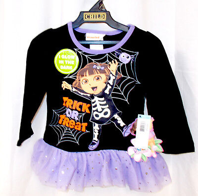 Nickelodeon Dora The Explorer Halloween Shirt Only Trick Or Treat GID 12M 18M 2