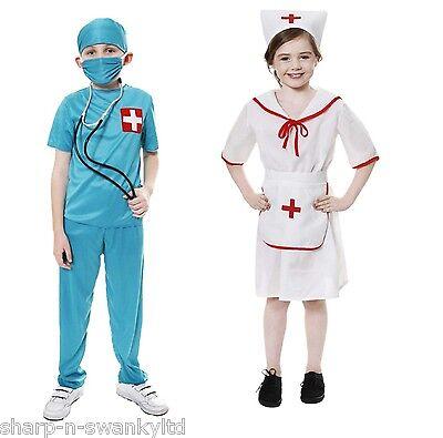 Jungen Mädchen Kinder Arzt Pflegepersonal Er Kostüm Kleid Outfit 3-12 (Kind E R Arzt Kostüme)