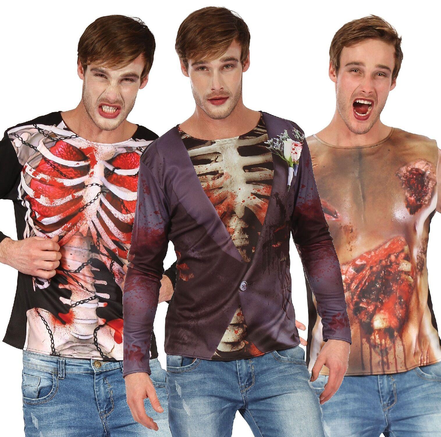 Da Uomo Zombie Scheletro 3d Halloween Stampato Camicia Costume Vestito