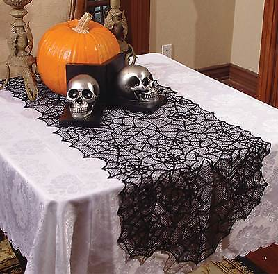 Haunted House Gothic Black LACE SPIDER WEB TABLE RUNNER Halloween Decoration-80