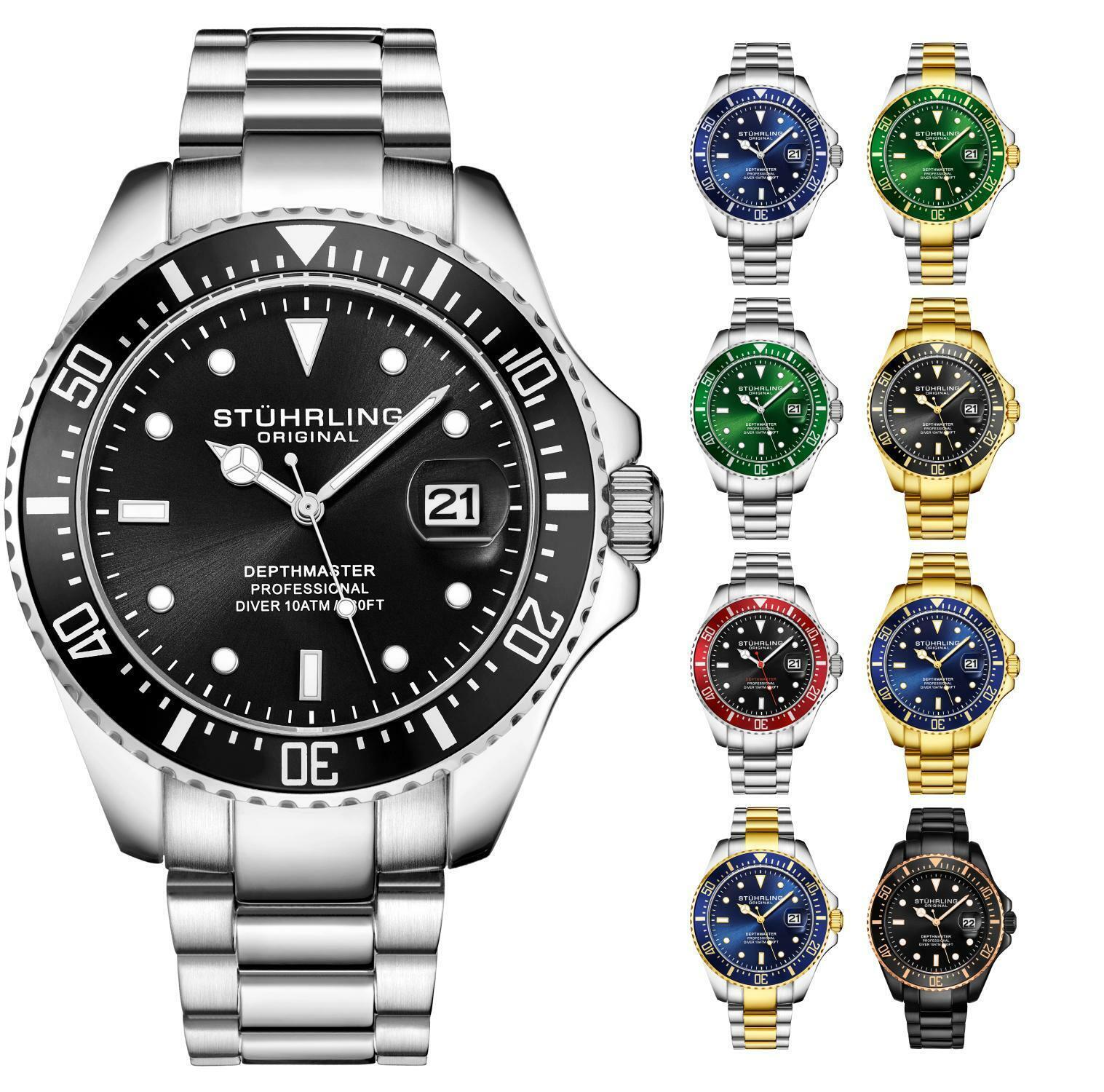 Stuhrling Aqua Diver 3968 Swiss Quartz Men S 2 Tone Bracelet Black